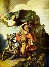Prophet Balaam and the donkey by Rembrandt - 24x32 inch Canvas Wall Art Home Dec - $51.99