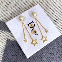 Authentic Christian Dior 2019 CD LOGO CHAIN STAR DANGLE DROP Earrings image 12