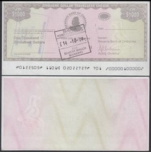 Zimbabwe 1,000 Dollars, 2003, P-15, USED, Travellers Cheque Amount Field - $4.99