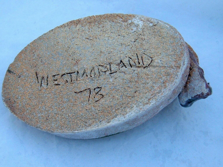 Owl Ashtray Figurine Trinket tray handmade Glazed Westmarland 78 Vtg woodland image 4