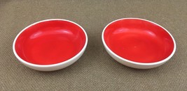 2 Vtg 1962 Holt Howad Tomato Red Cereal Bowl Red Rooster Coq Rouge - $13.98