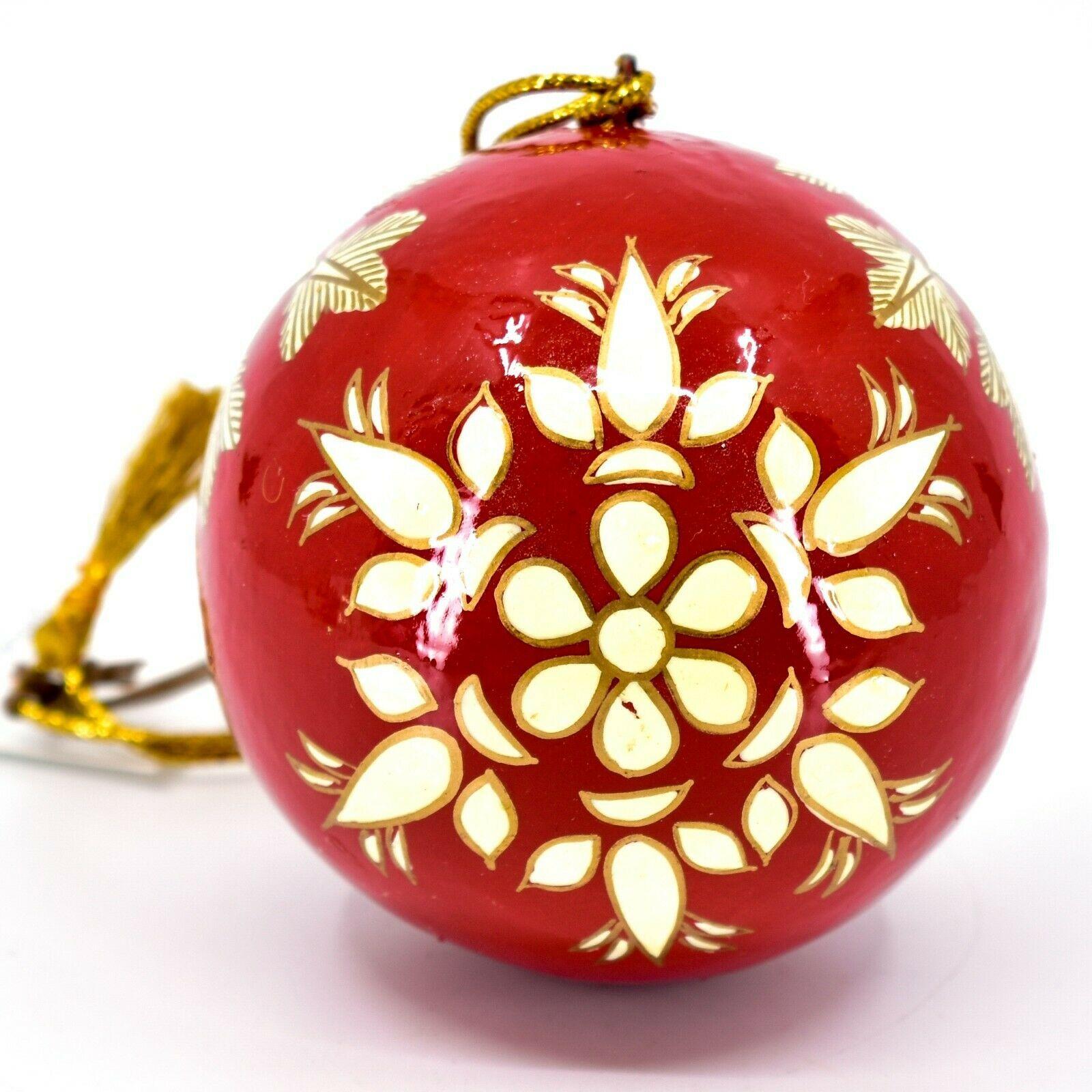 Asha Handicrafts Painted Papier-Mâché Red & Gold Snowflakes Christmas Ornament