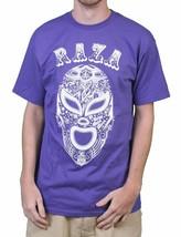 Raza Mens Black or Purple Lucha Libre Luchador Wrestling Campeon Mask T-Shirt NW image 2