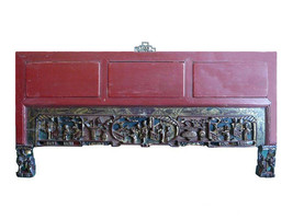 Vintage Red Golden Scenery Carved Decor Wall Panel s585 - $795.00
