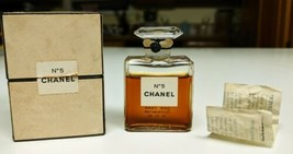 Vintage Sealed 1950's Chanel No. 5 Perfume 14ml w/ Box Crystal Container... - $252.44