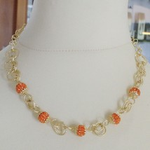 Silver Necklace 925 Yellow Gold Plated Circles Worked with Spheres Carnelian image 2