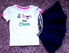 "Girl's Size 2 2T Years 2 Pc ""I Love The Ocean"" Gymboree Top, Navy Baby G... - $25.00"