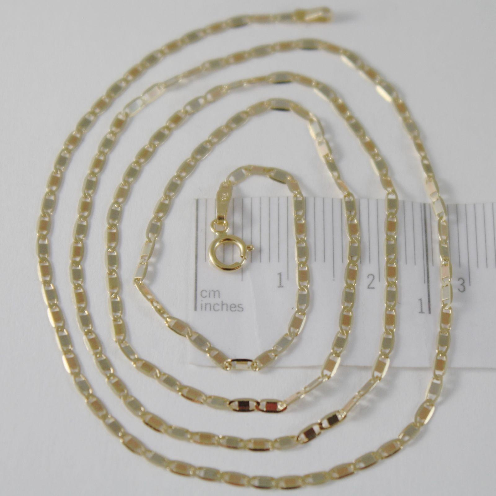18K YELLOW WHITE ROSE GOLD FLAT BRIGHT OVAL CHAIN 18 INCHES, 2 MM MADE IN ITALY