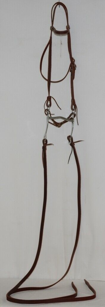 Courts Saddlery 110141 Leather Brow Bridle Curb Bit Reins Burgundy Color