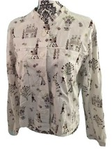 CHRISTOPHER & BANKS WHITE Floral Parisian Print JACKET SIZE XL Stretch - $24.99