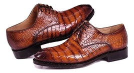 Handmade Men's Brown Crocodile Texture Lace Up Dress/Formal Leather Shoes image 4