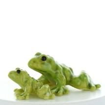 Fairy Garden Miniature Frog Papa and Baby Ceramic Figurine Set by Hagen Renaker