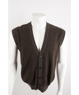 Christian Dior Men's Sweater Vest Small Brown V-Neck Lambswool Button Front - $29.69