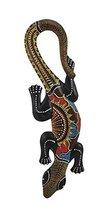 "Beautiful Unique Hand Carved Wooden Gecko Lizard Tropical Island Wall Art 20"" - $21.72"
