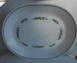 Corelle Holly Days Serving Platter Black Vein Christmas Holiday Winter - $19.79