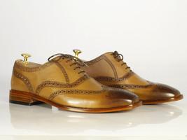 Handmade Men's Tan Leather Toe Burnished Wing Tip Heart Medallion Dress Shoes image 1