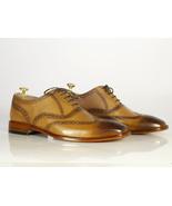 Handmade Men's Tan Leather Toe Burnished Wing Tip Heart Medallion Dress ... - $134.99+