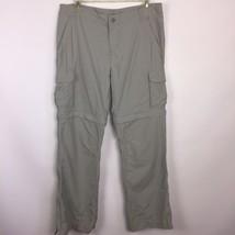 REI Trail Pants Girls XL Sz 18 Convertible Nylon Tan/Gray Zip Off Leg UP... - $29.65