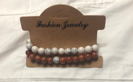 Faux Copper And Ivory Double Strand Bead Wonder Bracelet - $15.00