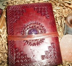 Leather and Stone Journal (BOS, Grimoire) - 2 Color Stones To Choose From - $39.00