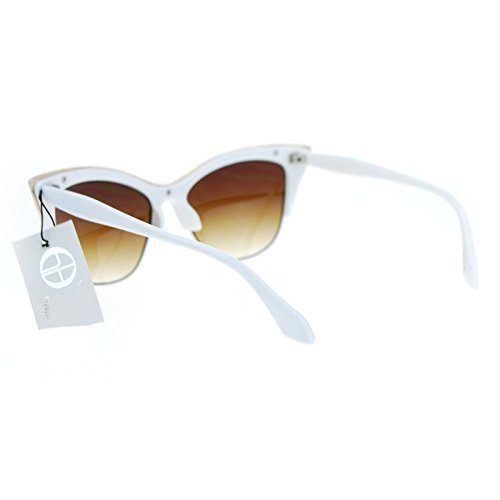 dd80f613ad SA106¨ Womens High Point Squared Half Rim Look Cat Eye Sunglasses White
