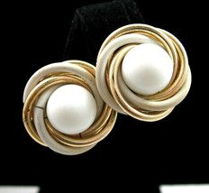 TRIFARI  Clip On EARRINGS Vintage White Glass Bead Rings Goldone Round 1... - $16.99