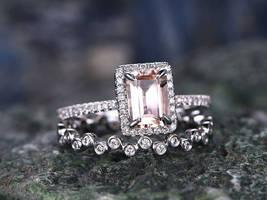 2pcs Emerald Morganite Engagement Bridal Ring Set 14K Rose Gold Over .925 Silver - $116.79