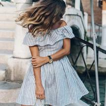 Summer Style Women's Sexy Off shoulder Striped Sundress image 1
