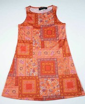 NICOLE MILLER DESIGNER GIRLS SIZE LARGE 12 GORGEOUS ORANGE BOHO PRINT DRESS - $12.61