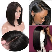 Brazilian Straight Short Bob 13x4 Lace Front Wigs Human Hair Glueless Sh... - $71.15