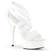 """PLEASER Sexy Stripper Dancer Platform 6"""" Heel Criss Cross White Strappy ... - $59.95"""