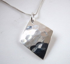 Hammered Diamond-Shaped Necklace 925 Sterling Silver Corona Sun Jewelry - $17.81