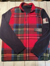 Nautica Nautex Blue Water Challenge Plaid Fleece Cherry Red Mens L New - $21.77