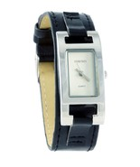 Women's | Elegant Silver-Tone Rectangle Face Watch with leather style br - $52.10