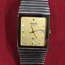 Rado Gold Dial And Stainless Steel Quartz Dressing Watch Stunning Gift/P... - $832.99