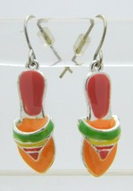 Enamel Multi-Color Silver Tone Sandal Dangle Earrings 1980s Vintage - $19.80