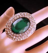 Huge statement ring - Green rhinestone - irish colors - Brilliant pave s... - $55.00