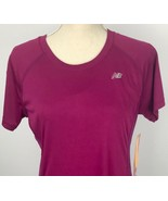 New Balance Women's Athletic Running Yoga Gym L Burgundy Short Sleeve - $29.69