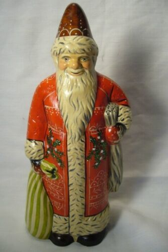 Vaillancourt Folk Art, Santa with Red and White Embroidery Signed by Judi