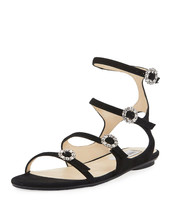 Jimmy Choo Naia Suede Flat Sandal with Crystal Buckles, Black 37.5 MSRP: $695 - $445.50