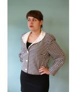 Elegant Houndstooth check blazer jacket with White Peter Pan Collar True... - $37.38