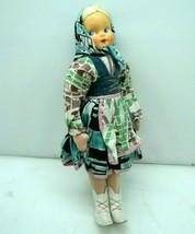 "Vintage 1950s Poland Girl Cloth Doll Celluloid Head Handpainted 14"" - $29.67"