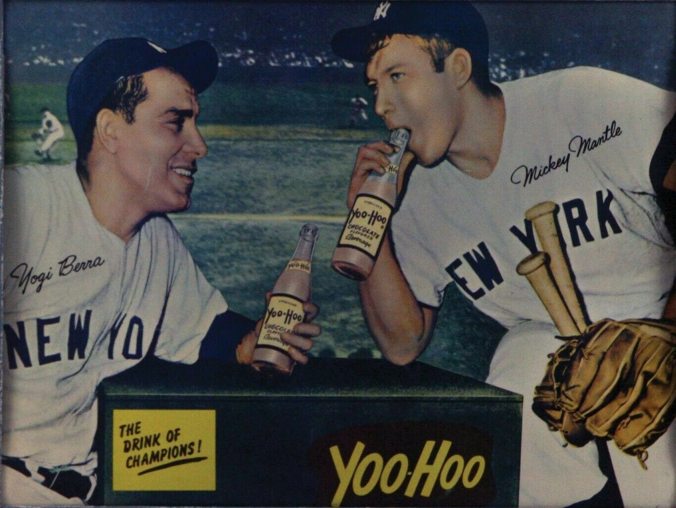 Primary image for YOGI BERRA & MICKEY MANTLE 8X10 PHOTO NEW YORK YANKEES BASEBALL PICTURE YOO-HOO