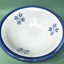Vintage Brinker Pots Pottery Blue Tulips Pattern Pasta Bowl Dated 1995 - $46.78