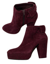 NEW Gianni Bini Wine Colored Suede Leather Back Bow Boots - $39.95