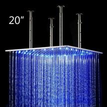 """20"""" Square Ceiling Mount Rainfall LED Shower Head Matt Black Top Sprayer - $406.68"""