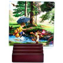 Thomas Kinkade Winnie the Pooh Prints 4 Piece Fused Glass Coaster Set w Holder image 5