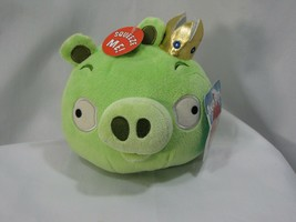 "Angry Birds 2010 Green King Pig Gold Crown WITH SOUND 5"" Plush Works Great - $59.39"