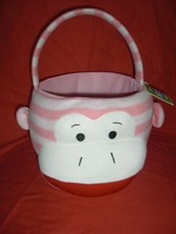PINK STRIPED SOCK MONKEY SOFT PLUSH LINED EASTER BASKET NEW W/T - $12.99
