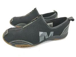 Merrell Barrado Mocs Womens Size 6M Black Leather & Fabric Barefoot Zipper Flats - $29.99